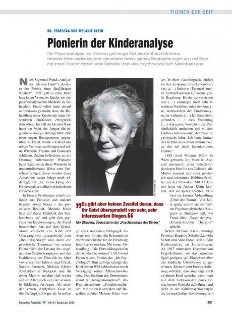50. Todestag von Melanie Klein