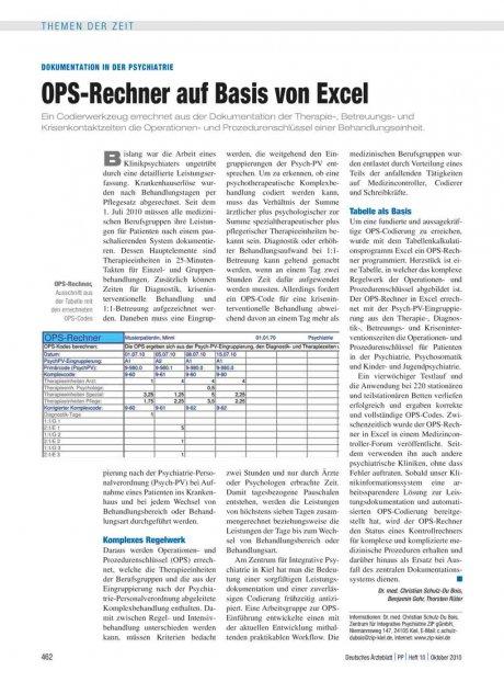 Dokumentation in der Psychiatrie: OPS-Rechner auf Basis von Excel