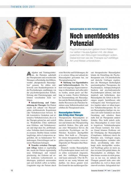 Hausaufgaben in der Psychotherapie