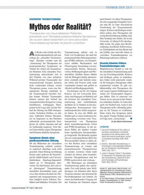 Sekundäre Traumatisierung: Mythos oder Realität?
