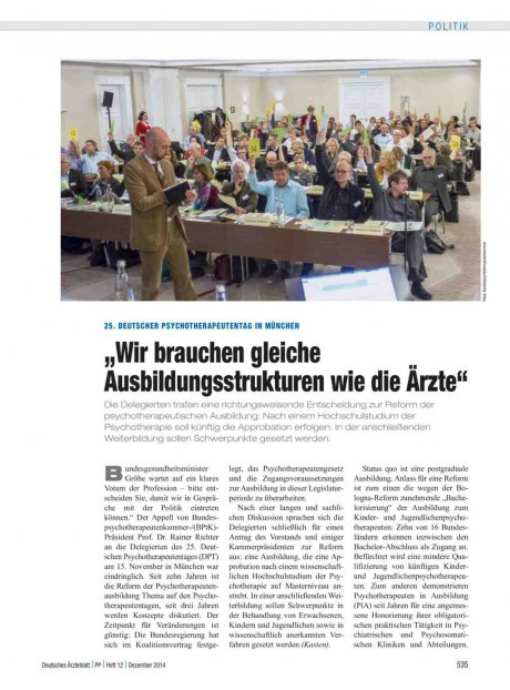 25. Deutscher Psychotherapeutentag in München