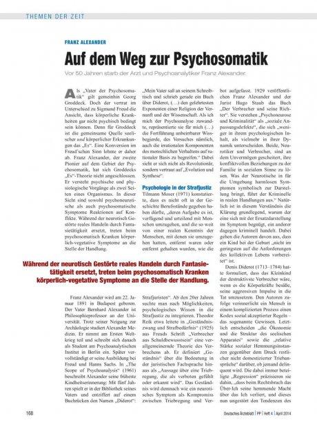 Franz Alexander: Auf dem Weg zur Psychosomatik