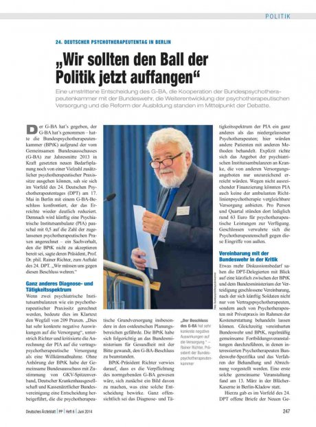 24. Deutscher Psychotherapeutentag in Berlin
