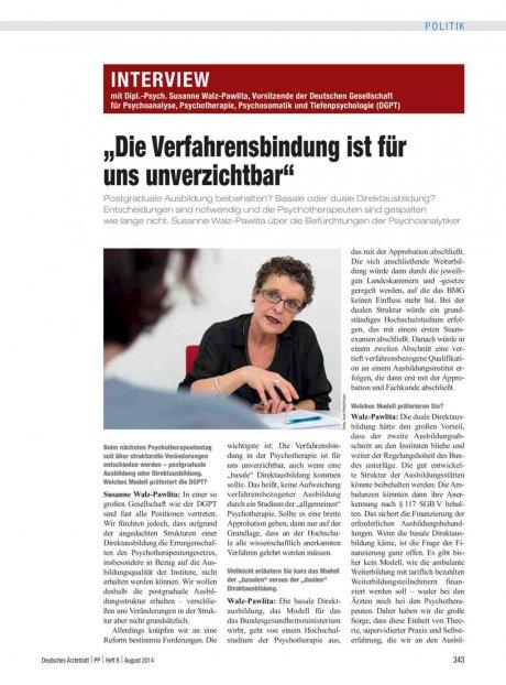 Interview mit Dipl.-Psych. Susanne Walz-Pawlita,...