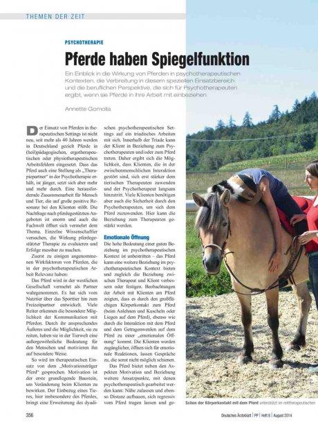 Psychotherapie: Pferde haben Spiegelfunktion