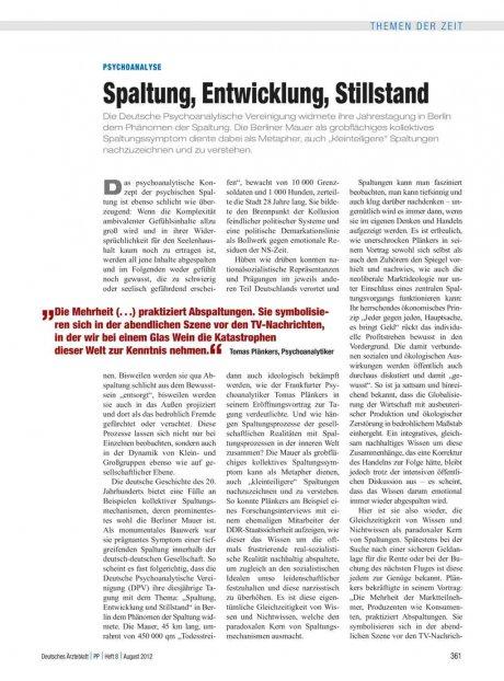 Psychoanalyse: Spaltung, Entwicklung, Stillstand