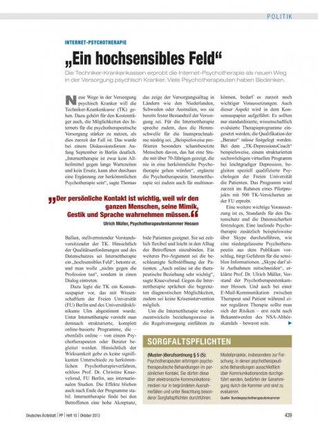 """Internet-Psychotherapie: """"Ein hochsensibles Feld"""""""