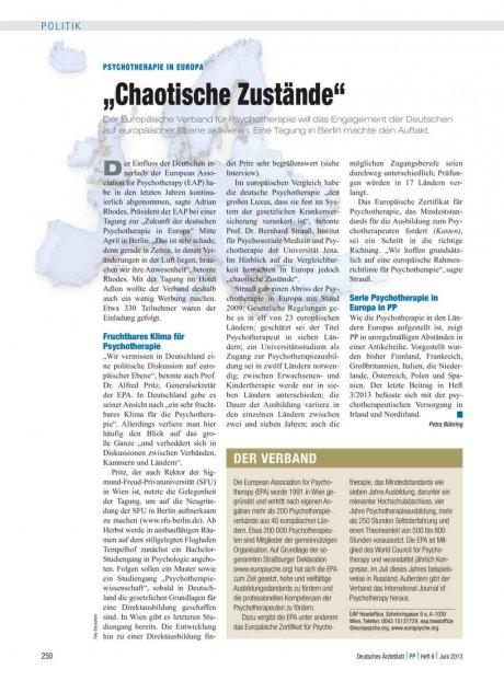 """Psychotherapie in Europa: """"Chaotische Zustände"""""""