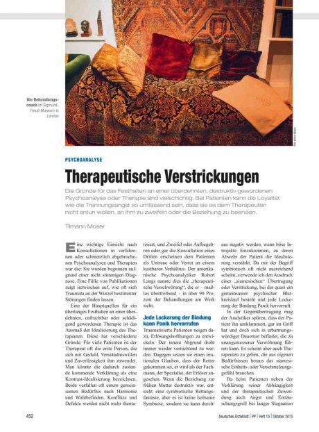 Psychoanalyse: Therapeutische Verstrickungen