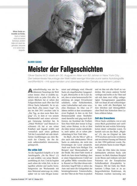 Oliver Sacks: Meister der Fallgeschichten