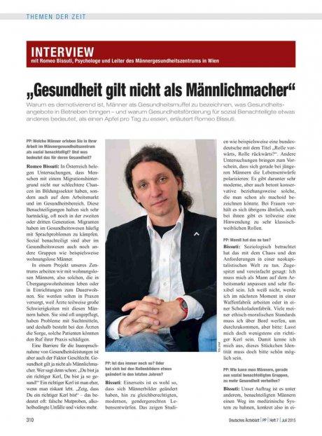 Interview mit Romeo Bissuti, Psychologe und Leiter...