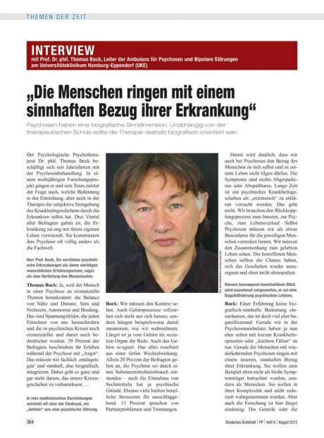 Interview mit Prof. Dr. phil. Thomas Bock, Leiter...