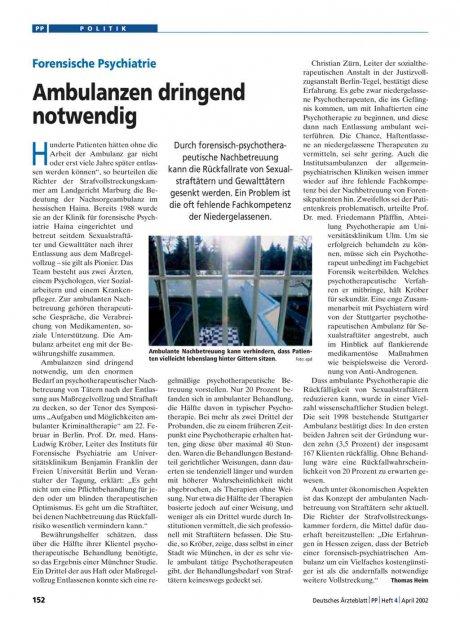 Forensische Psychiatrie: Ambulanzen dringend notwendig