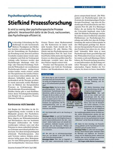Psychotherapieforschung: Stiefkind Prozessforschung