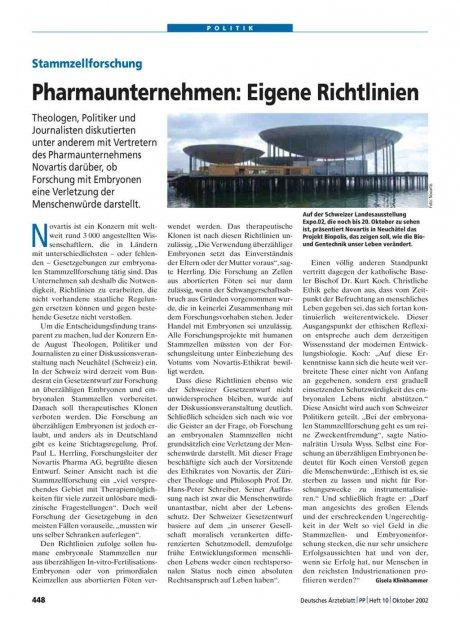 Stammzellforschung: Pharmaunternehmen - Eigene Richtlinien