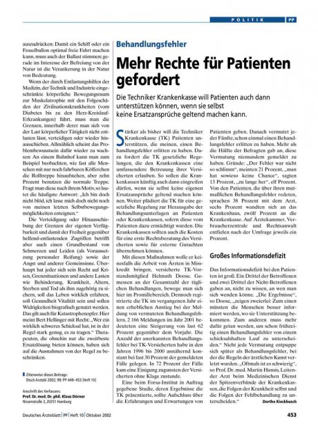 Behandlungsfehler: Mehr Rechte für Patienten gefordert