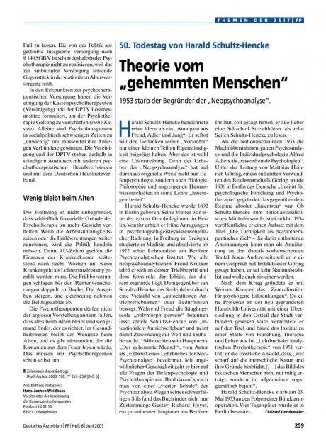 50. Todestag von Harald Schultz-Hencke