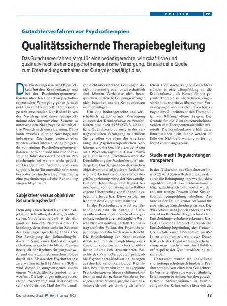 Gutachterverfahren vor Psychotherapien