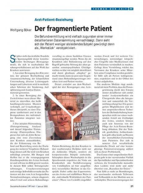 Arzt-Patient-Beziehung: Der fragmentierte Patient