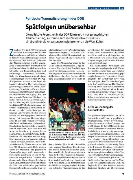 Politische Traumatisierung in der DDR