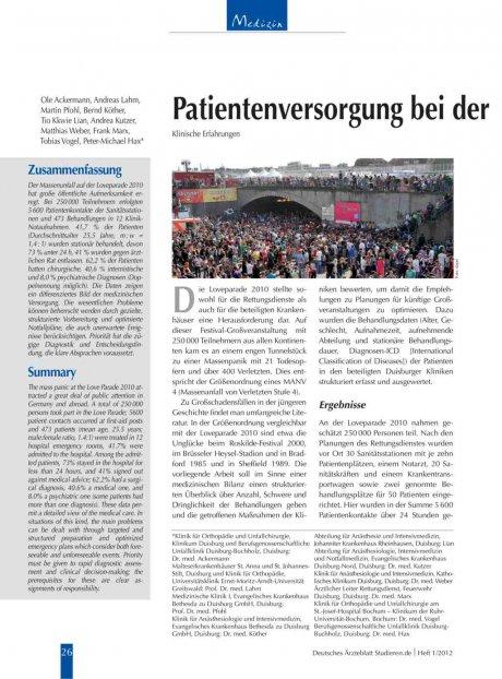 Patientenversorgung bei der Loveparade 2010