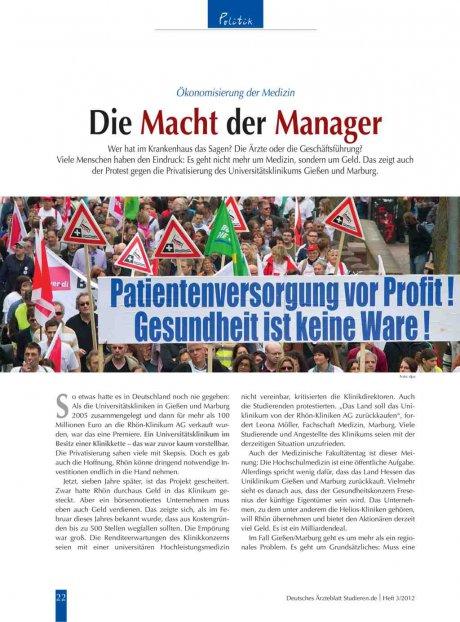 Ökonomisierung der Medizin: Die Macht der Manager