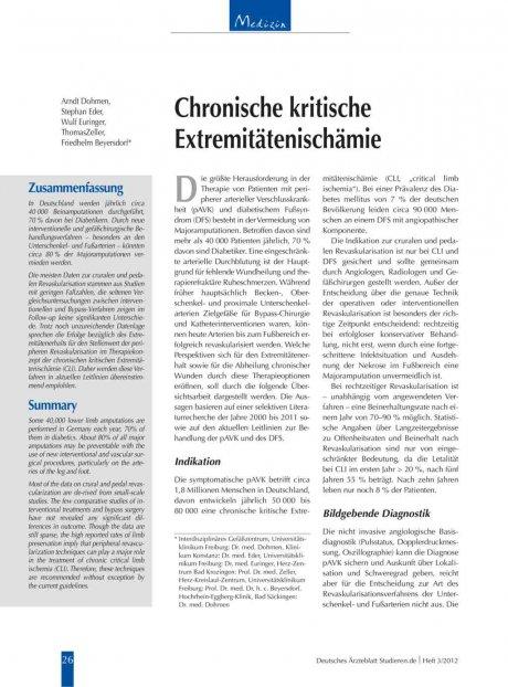 Chronische kritische Extremitätenischämie...