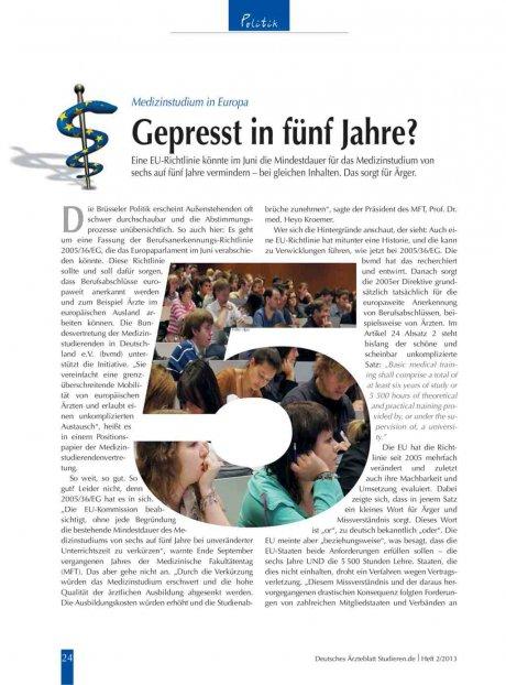 Medizinstudium in Europa: Gepresst in fünf Jahre?