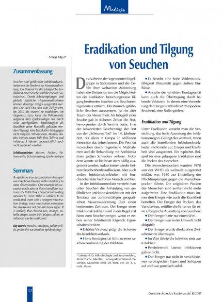 Eradikation und Tilgung von Seuchen