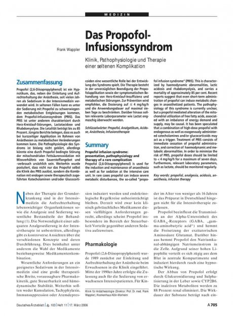 Das Propofol-Infusionssyndrom