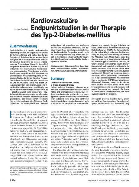 Kardiovaskuläre Endpunktstudien in der Therapie...