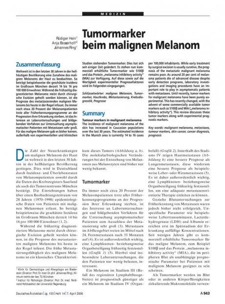 Tumormarker beim malignen Melanom