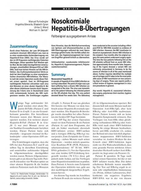Nosokomiale Hepatitis-B-Übertragungen