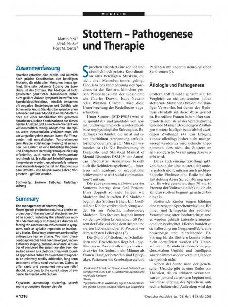 Stottern – Pathogenese und Therapie