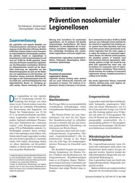 Prävention nosokomialer Legionellosen