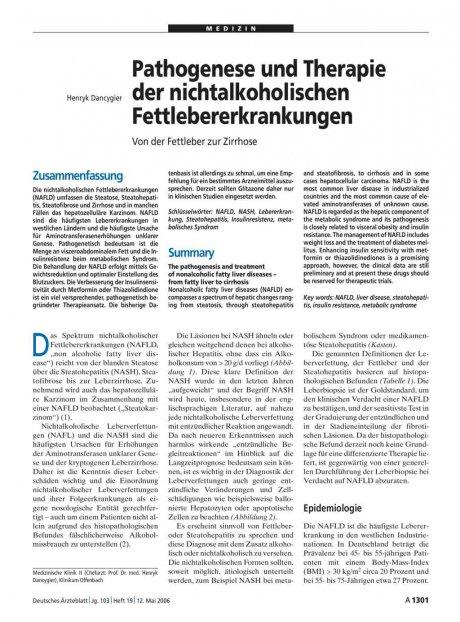 Pathogenese und Therapie der nichtalkoholischen...