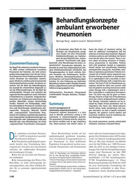 Behandlungskonzepte ambulant erworbener Pneumonien