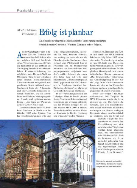 MVZ Polikum Friedenau: Erfolg ist planbar