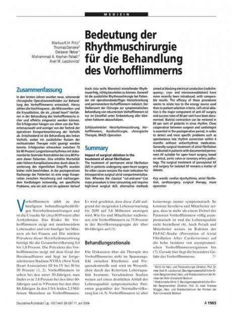 Bedeutung der Rhythmuschirurgie für die Behandlung...
