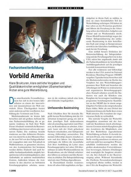 Facharztweiterbildung: Vorbild Amerika