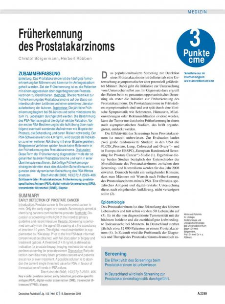 Früherkennung des Prostatakarzinoms