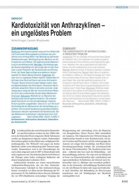 Kardiotoxizität von Anthrazyklinen – ein...