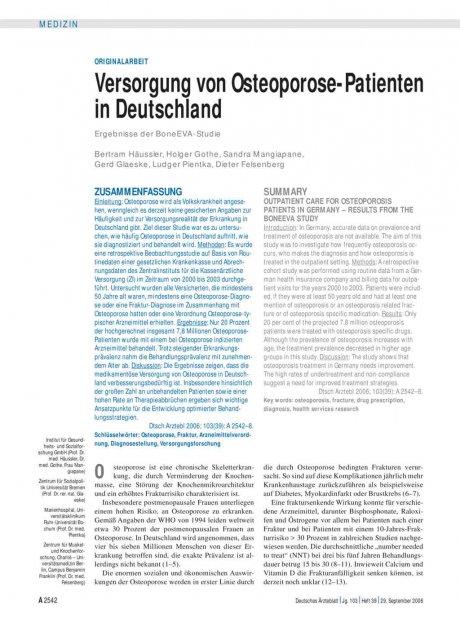 Versorgung von Osteoporose-Patienten in...