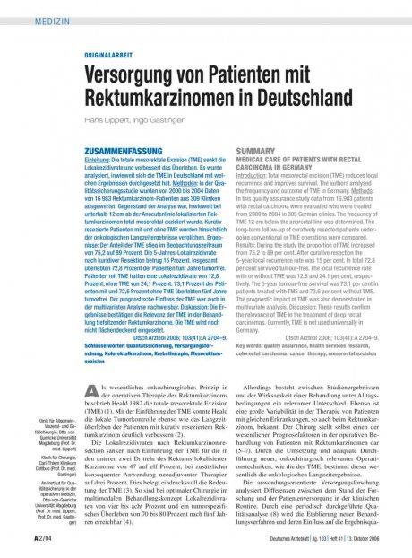 Versorgung von Patienten mit Rektumkarzinomen in...