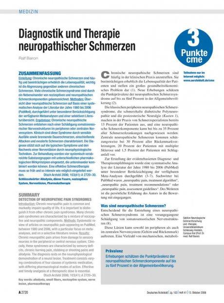 Diagnostik und Therapie neuropathischer Schmerzen