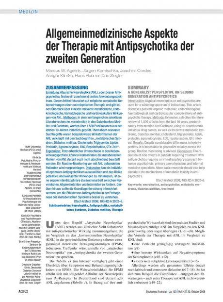 Allgemeinmedizinische Aspekte der Therapie mit...