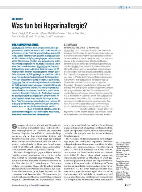 Was tun bei Heparinallergie?