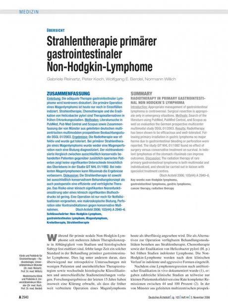 Strahlentherapie primärer gastrointestinaler...