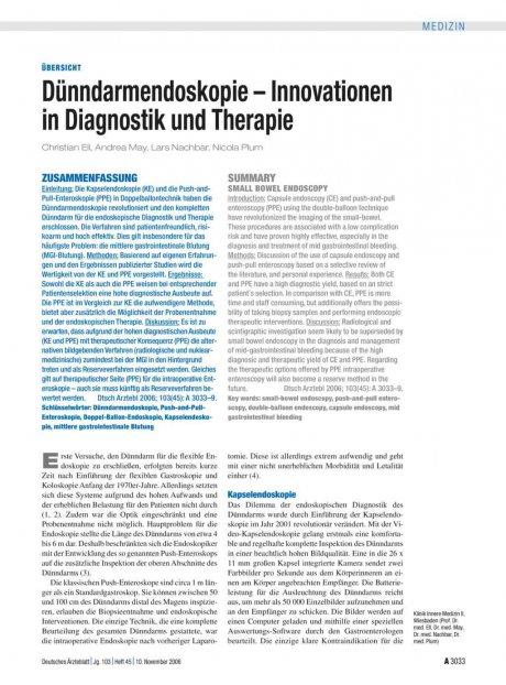 Dünndarmendoskopie – Innovationen in Diagnostik...