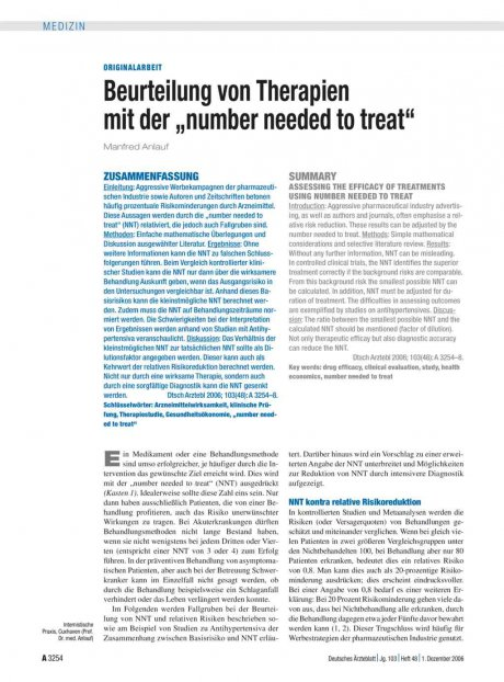 """Beurteilung von Therapien mit der """"number needed..."""